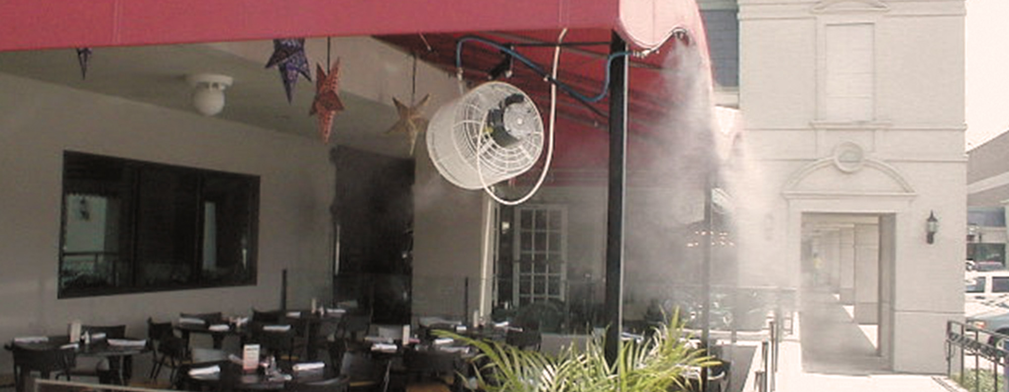 Got a small business? Mist & Cool Misting Fan Kits can keep<br /> people enjoying your services longer on hot days!